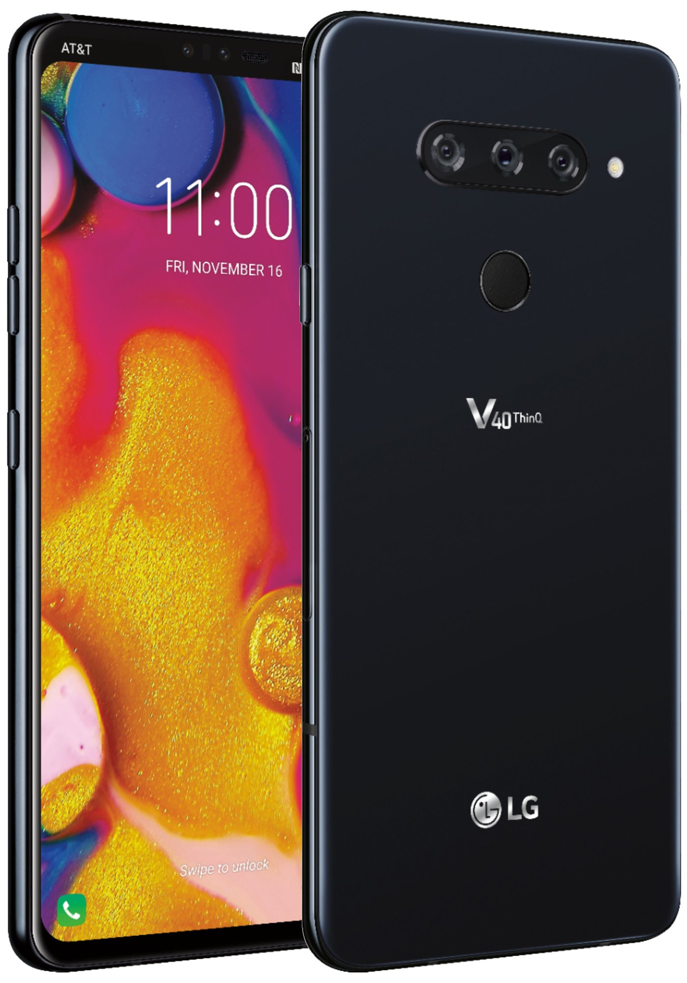 Двустранно изображение на рекламен плакат на LG V40 ThinQ с тройна камера
