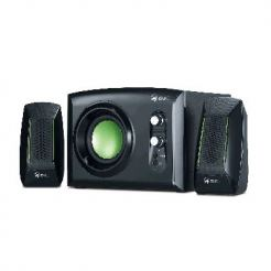 GX SW-G2.1 1200 - Subwoofer System 30W, headphone jack and line-in jack, black with green highlights + подарък тениска GX