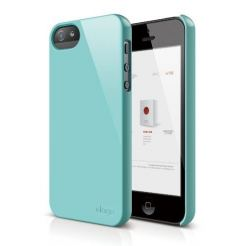Elago S5 Slim Fit 2 Case + HD Clear Film - кейс и HD покритие за iPhone 5 (светлосин)