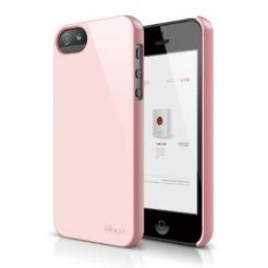 Elago S5 Slim Fit 2 Case + HD Clear Film - кейс и HD покритие за iPhone 5 (светлорозов)