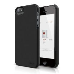 Elago S5 Slim Fit 2 Case + HD Clear Film - кейс и HD покритие за iPhone 5 (черен-мат)