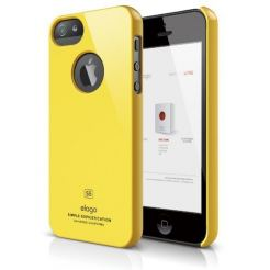 Elago S5 Slim Fit Case + HD Clear Film - кейс и HD покритие за iPhone 5 (жълт-лъскав)