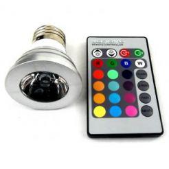 RGB светодиодна лампа/крушка с 16 цвята + дистанционна управление, 3W E27 цокъл