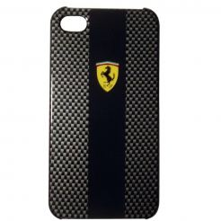 Ferrari Carbon Effect - поликарбонатов кейс за iPhone 5 (черен)