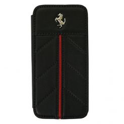 Ferrari California Series Book-Flip-Case - кожен флип кейс тип портфейл за iPhone 5 (естествена кожа - черен)