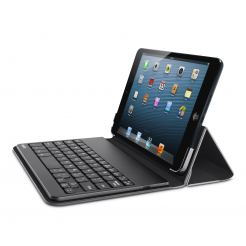 Belkin Bluetooth Portable case - кожен кейс, клавиатура и стойка за iPad mini (черен)