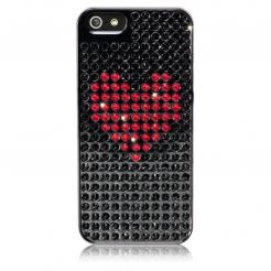 Bling My Thing Heart Extravaganza - кейс с кристали Сваровски за iPhone 5 (черен)