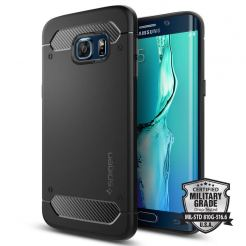 Spigen Rugged Armor Capsule Carbon Case - термополиуретанов кейс с елементи на карбон и с най-висока степен на защита за Samsung Galaxy S6 Edge Plus (черен)