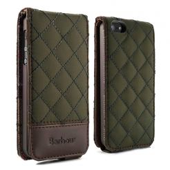 Proporta Barbour Quilted Leather Flip Case - дизайнерски кожен флип кей за iPhone SE, iPhone 5S, iPhone 5 (зелен)