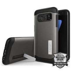 Spigen Slim Armor Case - хибриден кейс с поставка и най-висока степен на защита за Samsung Galaxy S7 Edge (черен-сив)