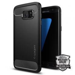 Spigen Rugged Armor Case - термополиуретанов кейс с елементи от карбон и най-висока степен на защита за Samsung Galaxy S7 Edge (черен)