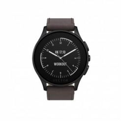 Vector Luna-Brushed Black Dark Brown Leather - луксозен Bluetooth тъч часовник за iOS и Android смартфони