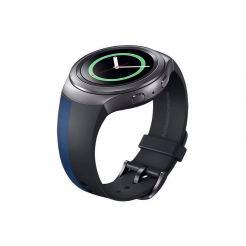 Samsung ET-SPR72 Wristband (Alexandro Mendini Design Edition) - оригинална кожена (естествена кожа) каишка за Galaxy Gear 2 (черен-син)