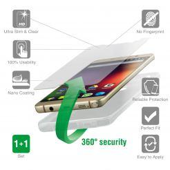 4smarts 360° Protection Set - тънък силиконов кейс и стъклено защитно покритие за дисплея на Motorola Moto G4 Plus (прозрачен)