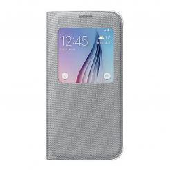 Samsung S-View Cover EF-CG920BSEGWW - оригинален кожен калъф за Samsung Galaxy S6 (сребрист)
