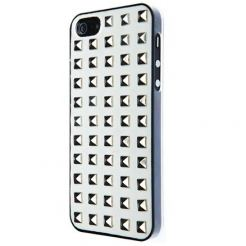 VCubed Small Squared Silver Bosses - поликарбонатов кейс за iPhone 5 (бял)