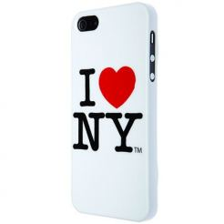 I love New York (I♥NY) Case - поликарбонатов кейс за iPhone 5 (бял)