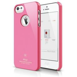 Elago S5 Slim Fit Case + HD Clear Film - кейс и HD покритие за iPhone 5 (розов-лъскав)