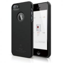 Elago S5 Slim Fit Case + HD Clear Film - кейс и HD покритие за iPhone 5 (черен-мат)