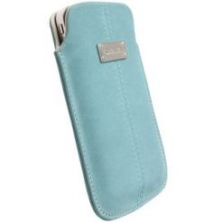Krusell Luna Pouch XXL - leather case for HTC Sensation, Galaxy S2, LG Optimus and mobile phones (син)