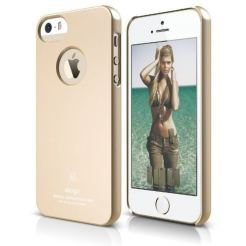 Elago S5 Slim Fit Case + HD Clear Film - кейс и HD покритие за iPhone 5, iPhone 5S (златист)