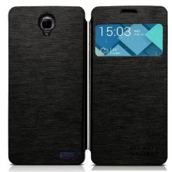 Alcatel Flipcover FC6040 - кожен кейс за Alcatel One Touch Idol X 6040 (черен)