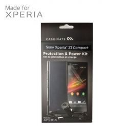CaseMate Accessory Kit - кейс, зарядно, кабел и покритие за дисплея за Sony Xperia Z1 Compact