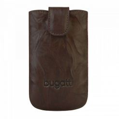 Bugatti SlimCase Unique Leather Case SL - кожен калъф за Motorola, Nokia, BlackBerry, Samsung, HTC и др. (кафяв)