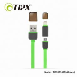 TIPX 2in1 Micro USB & Lightning Charge & Sync Cable - кабел за Apple и устройства с MicroUSB (зелен)