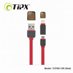TIPX 2in1 Micro USB & Lightning Charge & Sync Cable - кабел за Apple и устройства с MicroUSB (червен)
