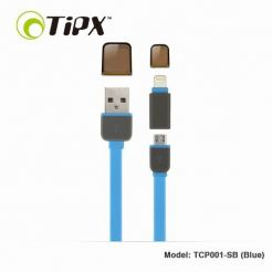 TIPX 2in1 Micro USB & Lightning Charge & Sync Cable - кабел за Apple и устройства с MicroUSB (син)