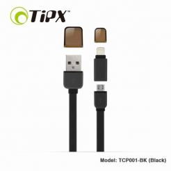 TIPX 2in1 Micro USB & Lightning Charge & Sync Cable - кабел за Apple и устройства с MicroUSB (черен)