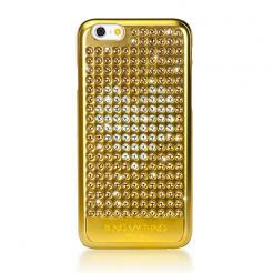 Bling My Thing Extravaganza Gold Heart Case - дизайнерски поликарбонатов кейс с кристали Сваровски за iPhone 6/6S (златист)
