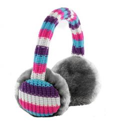 KitSound On-Ear Striped Knit Audio Earmuffs - ушанки с вградени слушалки с 3.5 мм аудио жак за iPhone и мобилни устройства