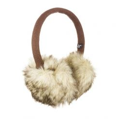KitSound On-Ear Natural Fur Audio Earmuffs - ушанки с вградени слушалки с 3.5 мм аудио жак за iPhone и мобилни устройства (кафяв)