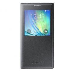 Samsung S-View Flip Case EF-CA700BC - оригинален кожен калъф за Samsung Galaxy A7 (черен)