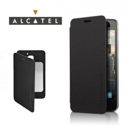 Alcatel Flipcover FC6030 - кожен кейс за Alcatel One Touch 6030 (черен)