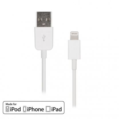 Artwizz Lightning to USB Cable - USB кабел за iPhone 5, iPod Touch 5, iPod Nano 7, iPad 4 и iPad Mini (бял)