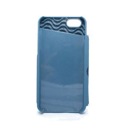 Plastic Wallet Case - поликарбонатов кейс с отделение за банкноти за iPhone 5S, iPhone 5 (син) 2