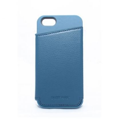 Plastic Wallet Case - поликарбонатов кейс с отделение за банкноти за iPhone 5S, iPhone 5 (син)