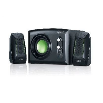 GX SW-G2.1 1200 - Subwoofer System 30W, headphone jack and line-in jack, black with green highlights + подарък тениска GX 3
