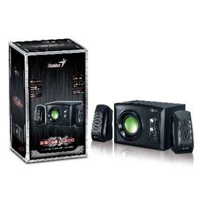 GX SW-G2.1 1200 - Subwoofer System 30W, headphone jack and line-in jack, black with green highlights + подарък тениска GX 2