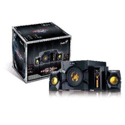 GX SW-G2.1 3000 - Subwoofer system, total output power 70 watts (40W + 2x 15W), wooden cabinet subwoofer, individual control box for power and bass with headphone and microphone jack, two additional input jacks for PC/TV/DVD/Game devices + подарък тениска 2
