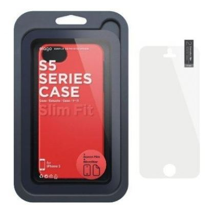 Elago S5 Slim Fit 2 Case + HD Clear Film - кейс и HD покритие за iPhone 5 (тъмночервен) 4