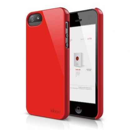 Elago S5 Slim Fit 2 Case + HD Clear Film - кейс и HD покритие за iPhone 5 (тъмночервен)