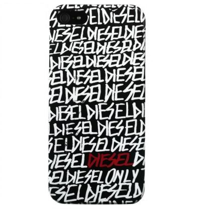 Diesel Snap Case Text - дизайнерски кейс за iPhone 5 (черен-бял)
