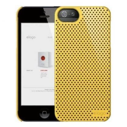 Elago S5 Breathe + HD Clear film - кейс (жълт) и HD покритие за iPhone 5 2