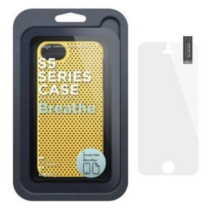 Elago S5 Breathe + HD Clear film - кейс (жълт) и HD покритие за iPhone 5 6