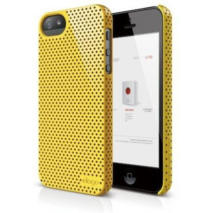 Elago S5 Breathe + HD Clear film - кейс (жълт) и HD покритие за iPhone 5