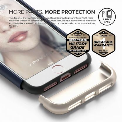 Elago S7 Glide Case + HD Clear Film - поликарбонатов кейс и HD покритие за iPhone 7 (тъмносин-златист) 5